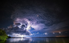 Storm, clouds, lightning, sea, dusk