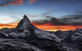 Швейцария, Горнерграт, пик, облака, сумерки