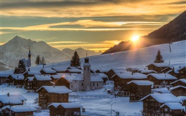 Suiza, invierno, nieve, pendiente, árboles, casas, salida del sol, mañana