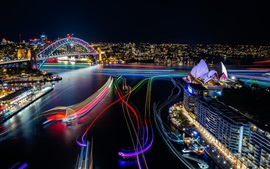 Preview wallpaper Sydney, beautiful city night view, lights, Opera House, Australia