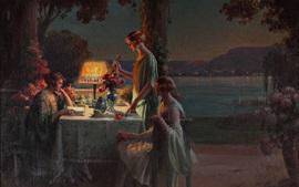 Чаепитие, вечер, молодые женщины, живопись