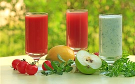 Preview wallpaper Three cups juices, parsley, tomatoes, lemon, apple
