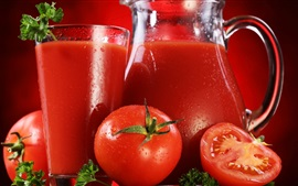 Preview wallpaper Tomato juice, tomatoes, glass bottle