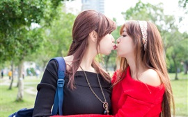 Preview wallpaper Two Asian girls, kiss