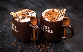 Preview wallpaper Two cups coffee, cocoa, chocolate