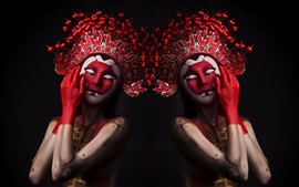 Two girls, makeup, headwear, Chinese Opera style