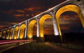 Viaduto, arco, estrada, noite, luzes