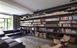 Villa, Sala de estar, biblioteca, livros, interior