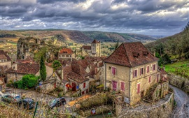 Village, houses, cars, mountains, HDR style