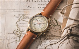 Preview wallpaper Vintage wrist watch, map