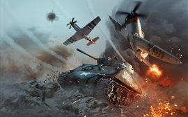 Preview wallpaper War Thunder, tank and fighter, battle