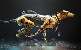 Preview wallpaper Warrior Dog, robot, running, creative design