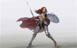 Preview wallpaper Warrior girl, red hair, armor, sword