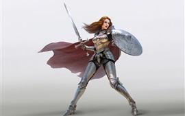 Aperçu fond d'écran Guerrier fille, cheveux roux, armure, épée