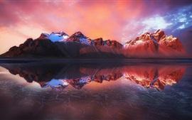 미리보기 배경 화면 물 반사, 산, 바다, 황혼, 아이슬란드