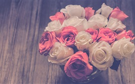 Preview wallpaper White and pink roses, bouquet, blurry