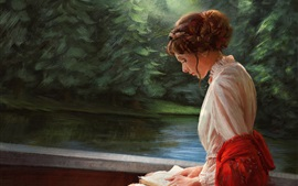 Preview wallpaper White dress girl reading book, art painting