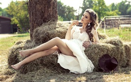 Preview wallpaper White skirt girl, legs, hay, summer