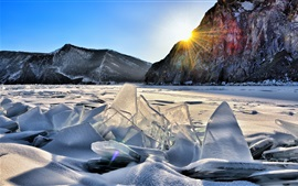 Winter, ice, mountains, frozen river, sun rays