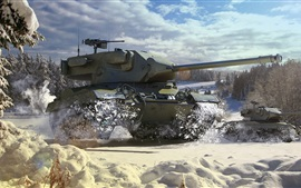 Preview wallpaper World of Tanks, light tank, snow, winter