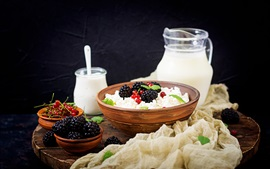 Preview wallpaper Yogurt, cheese, milk, red currant, blackberry, breakfast