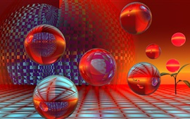 Preview wallpaper Abstract 3D balls, red style