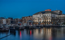 Preview wallpaper Amsterdam, Netherlands, houses, river, night, pier