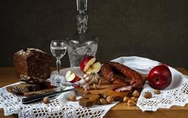 Maçã, pão, vodka, salsicha, nozes, comida