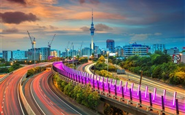 Auckland, New Zealand, roads, lights, tower, night