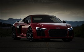 Preview wallpaper Audi red sport car front view, dusk