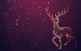 Belo cervo, círculos de luz, desenho abstrato