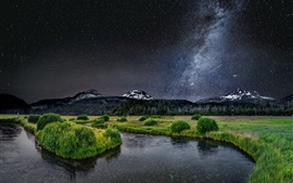 Preview wallpaper Beautiful nature landscape, river, grass, trees, milky way, stars, mountains