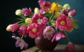 Beautiful tulips flowers, vase, colorful