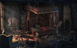 Preview wallpaper Bedroom, terror, blood, bed