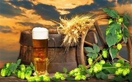 Beer, barrel, hops, foam