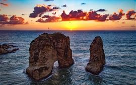 Beirute, líbano, pedras, arco, mar, pôr do sol