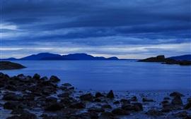 Bellingham, EUA, costa, lago, montanhas, nuvens, anoitecer, estilo azul