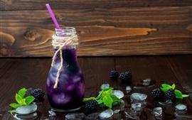 Blackberry, bebidas de bayas, botella, frío