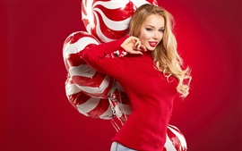 Blonde girl, red sweater, balloons