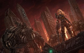 Preview wallpaper Blonde girl, robot, skyscrapers, fiction, art picture