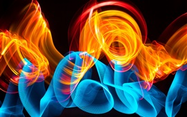 Preview wallpaper Blue curves and fire, abstract