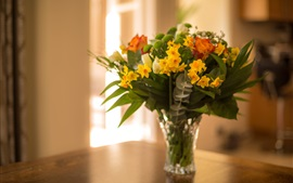 Bouquet, daffodils, rose, vase, room