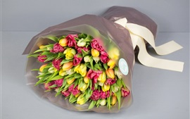 Preview wallpaper Bouquet, flowers, tulips, gift