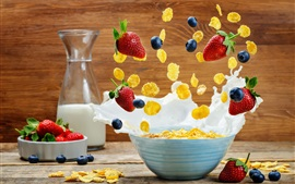 Preview wallpaper Breakfast, cereal, milk, strawberry, splash