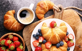 Preview wallpaper Breakfast, coffee, strawberry, blueberries, croissant