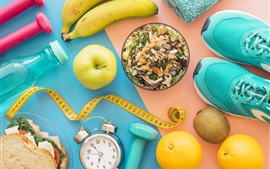 Breakfast, fruit, muesli, apple, banana, kiwi, alarm clock, shoes