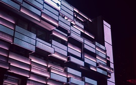 Building, balconies, lighting, night