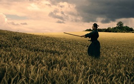 Preview wallpaper Bushido, katana, black kimono, wheat field