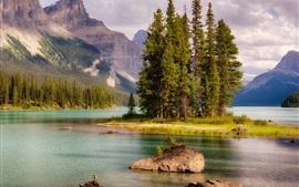 Canadá, Jasper, lago, árvores, montanhas
