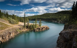 Canada, Yukon River, Miles Canyon, forest, rocks, clouds